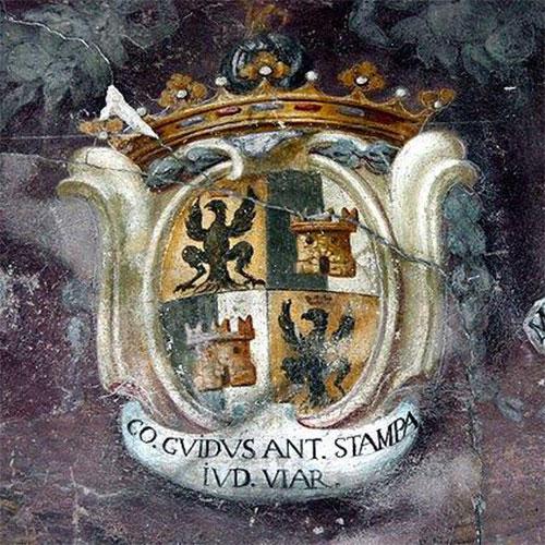 Palazzo della Ragione, affresco con lo stemma dei conti Stampa